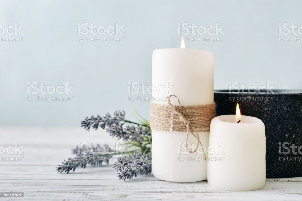 Candles with lavender stock photo