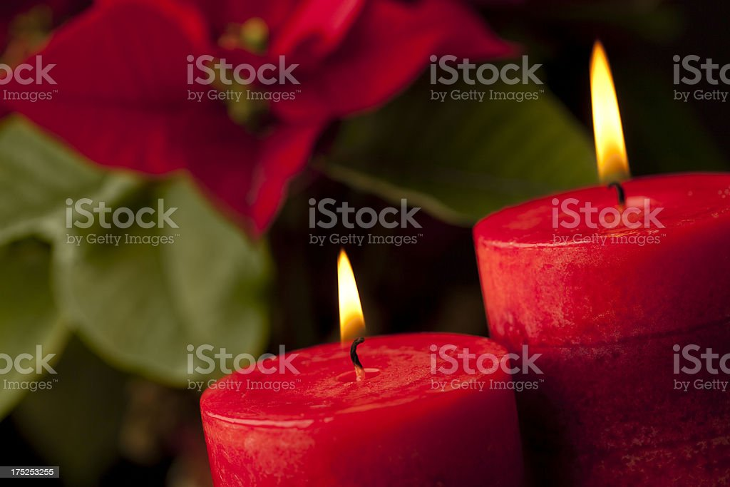 Candles with Poinsettia in Background royalty-free stock photo
