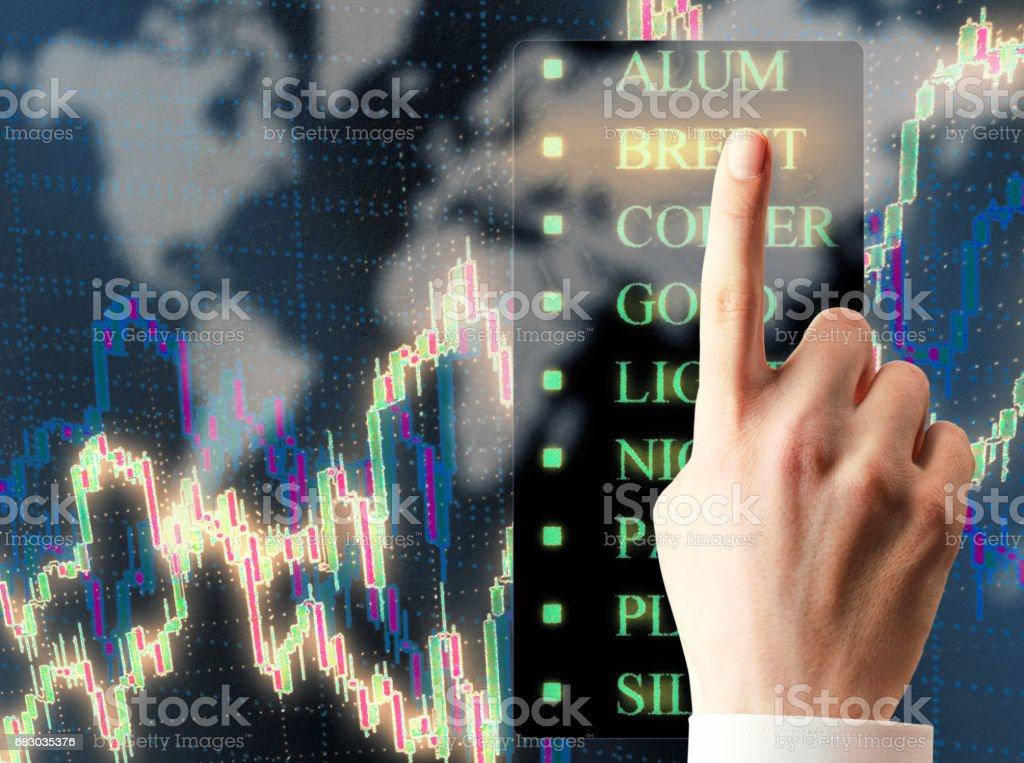 Candlestick chart and hand foto de stock royalty-free