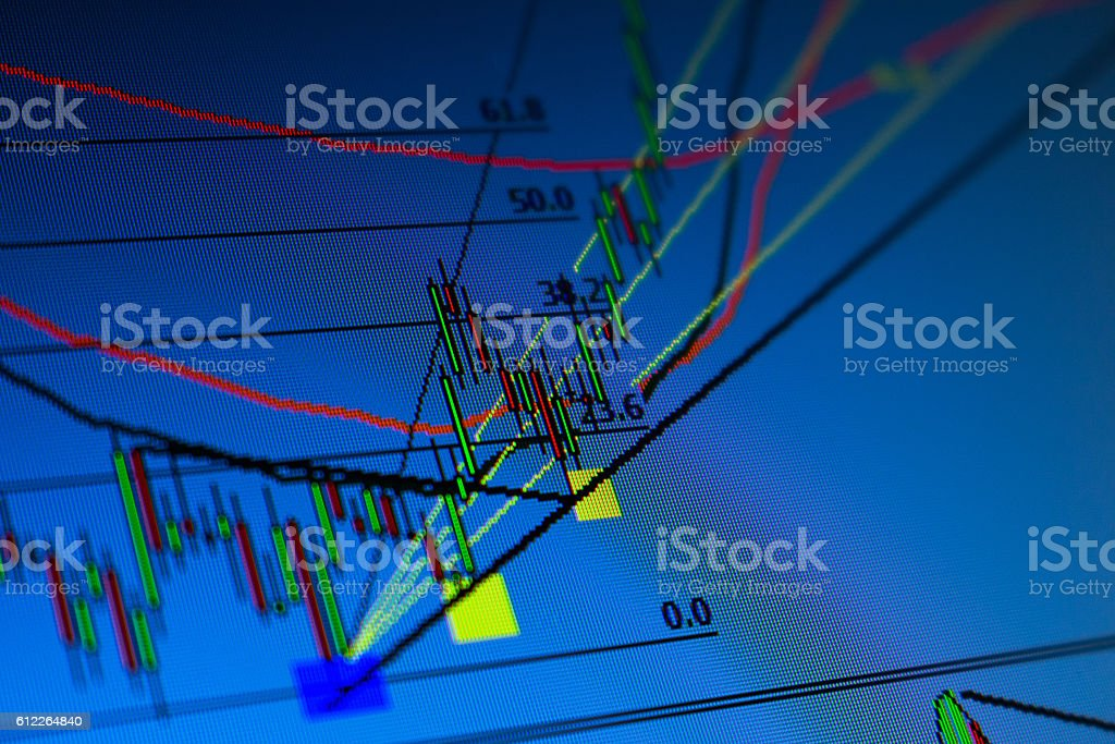 candlestick financial analysis trading chart - stock image