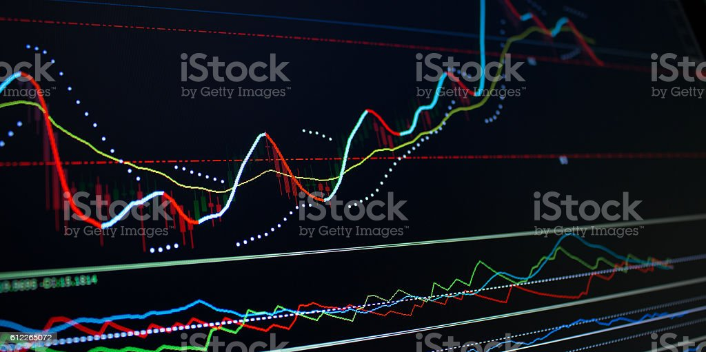 Candlestick Financial Analysis Trading Chart stock photo
