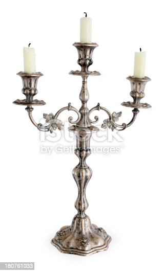 Vintage silver plated candlestick holder isolated on white.
