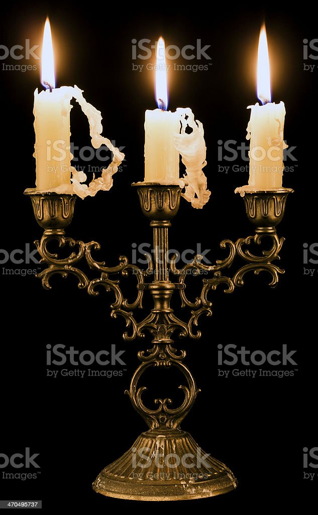 Candlestick holder with candles stock photo