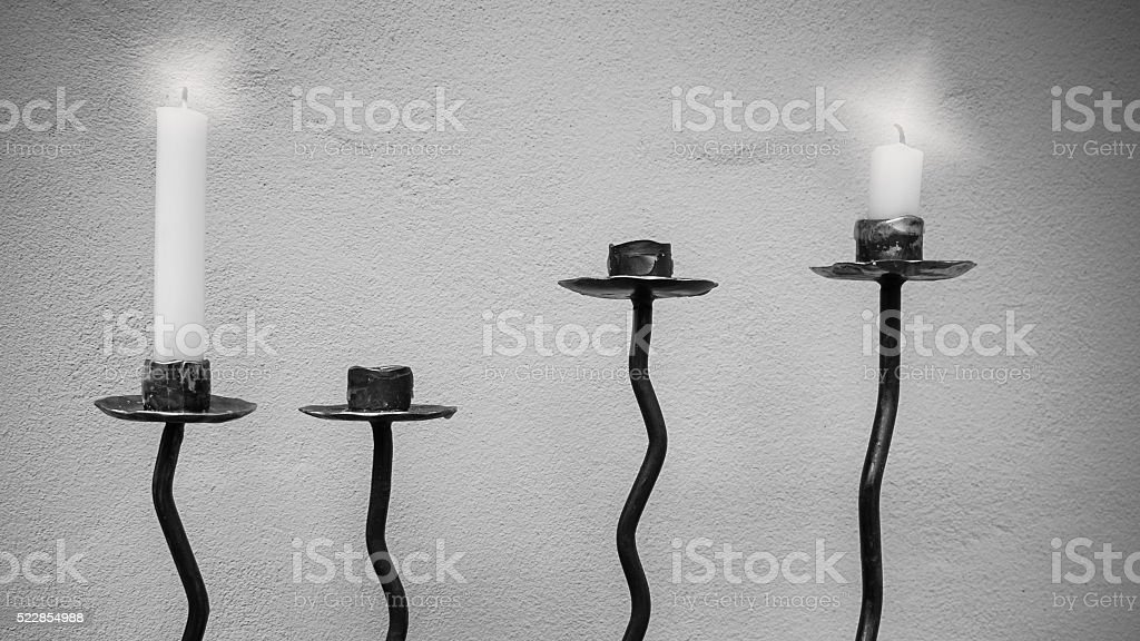 Candlestick in black and white. stock photo
