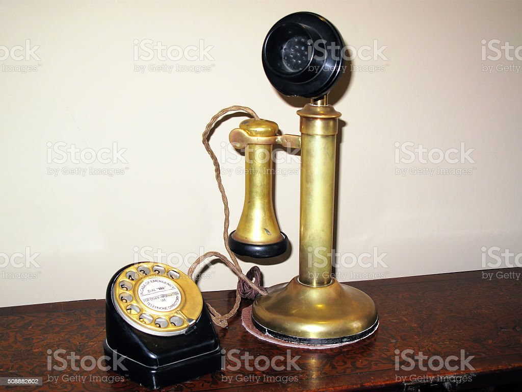 Candlestick telephone stock photo