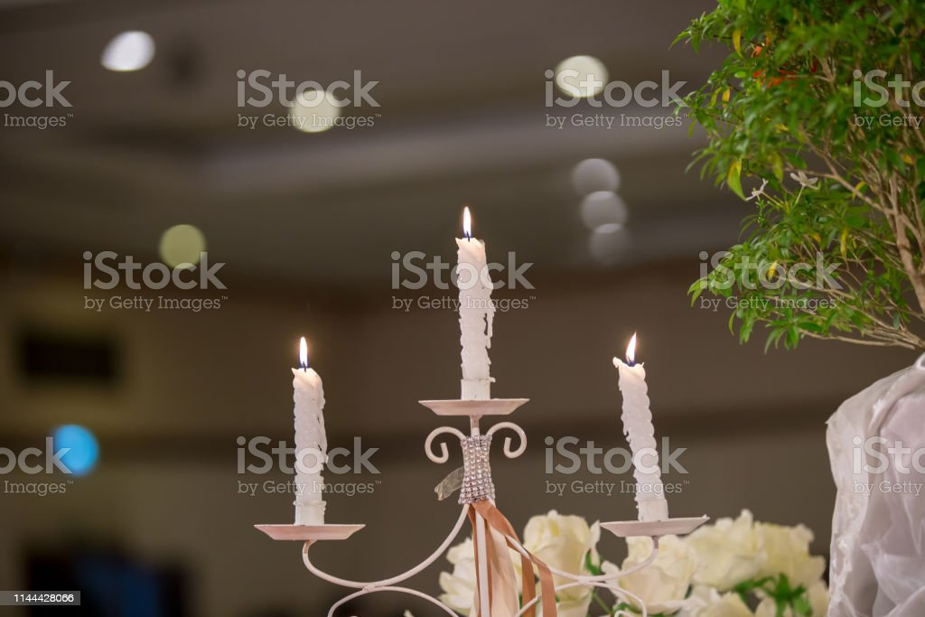 Candlestick With Blur Bokeh Background Image For Background