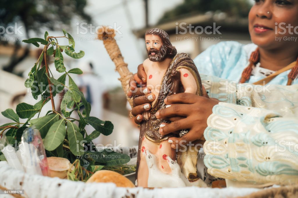 Candomble People wearing traditional clothes in Salvador, Bahia, Brazil stock photo