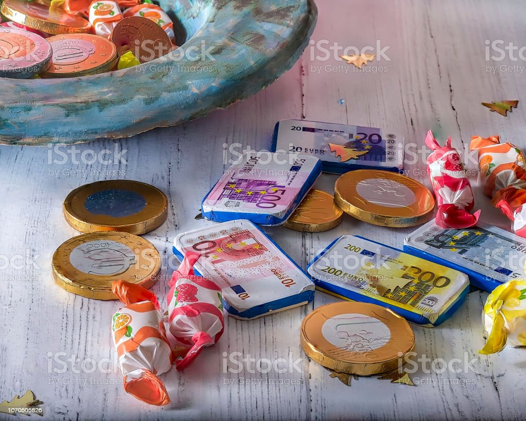 Candy and Choclate Money. Isolated. stock photo