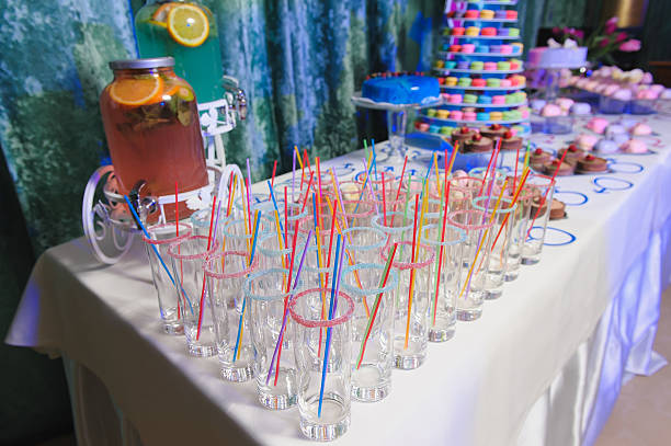 candy bar on party - cupcake türme stock-fotos und bilder