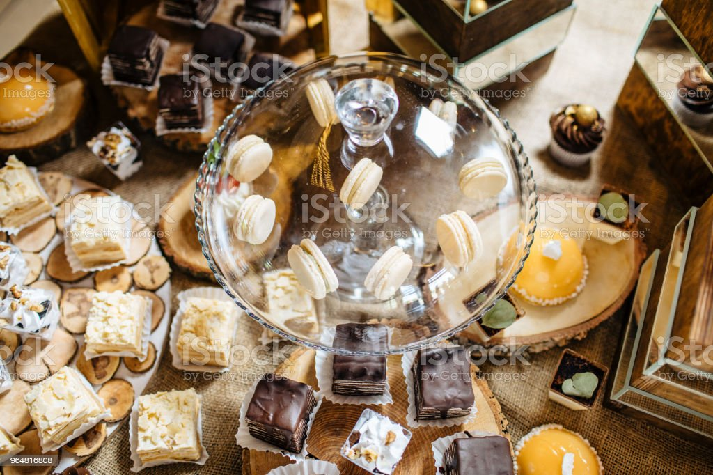 Candy bar. Table with different sweets for party royalty-free stock photo