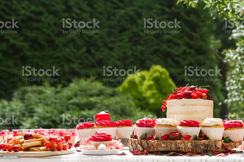 Candy Bar With Cakes Muffins Meringues Macaroons And Biscuits Royalty Free Stock