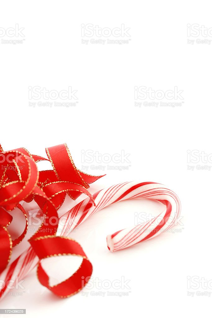 Candy Cane and Ribbon royalty-free stock photo