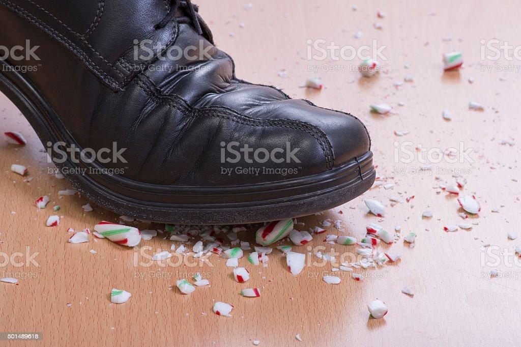Candy cane crush stock photo