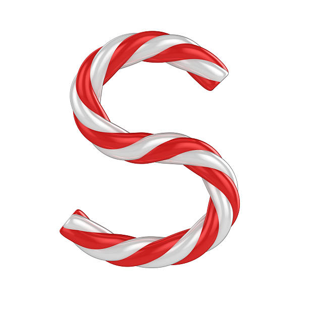 candy cane font - letter S stock photo