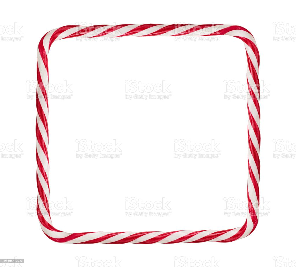 Candy cane frame stock photo