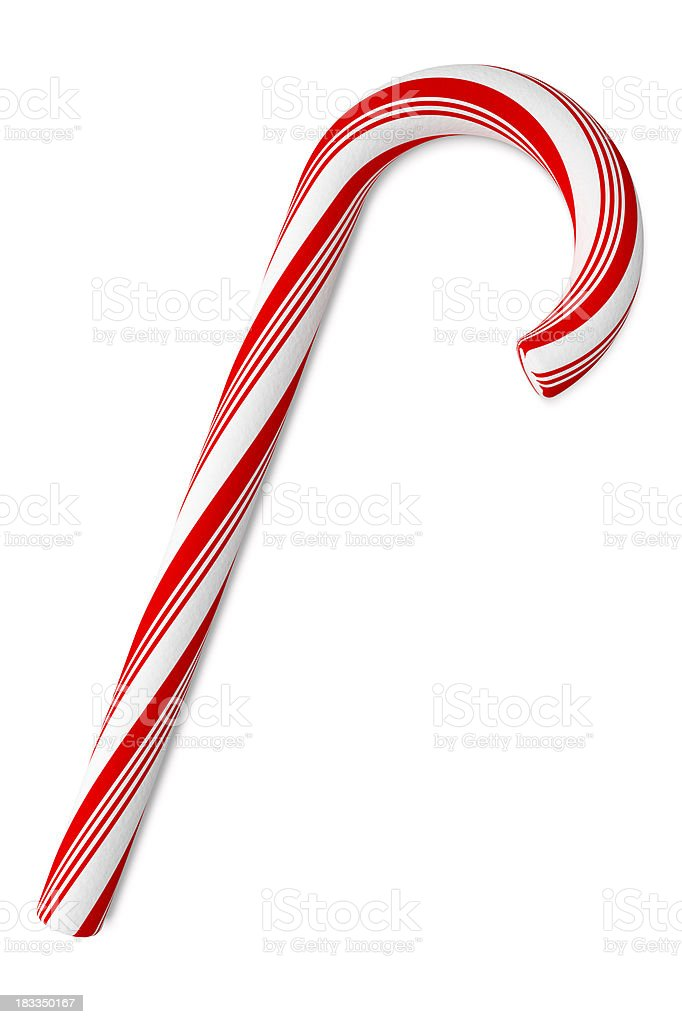Candy Cane on White Background, with Clipping Path (XXXL) royalty-free stock photo