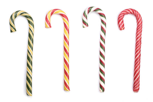 Candy cane striped isolated on white background. Top view Candy cane striped isolated on white background. Top view. candy cane stock pictures, royalty-free photos & images