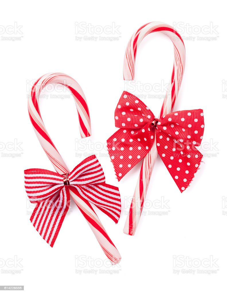 Candy cane with bow stock photo