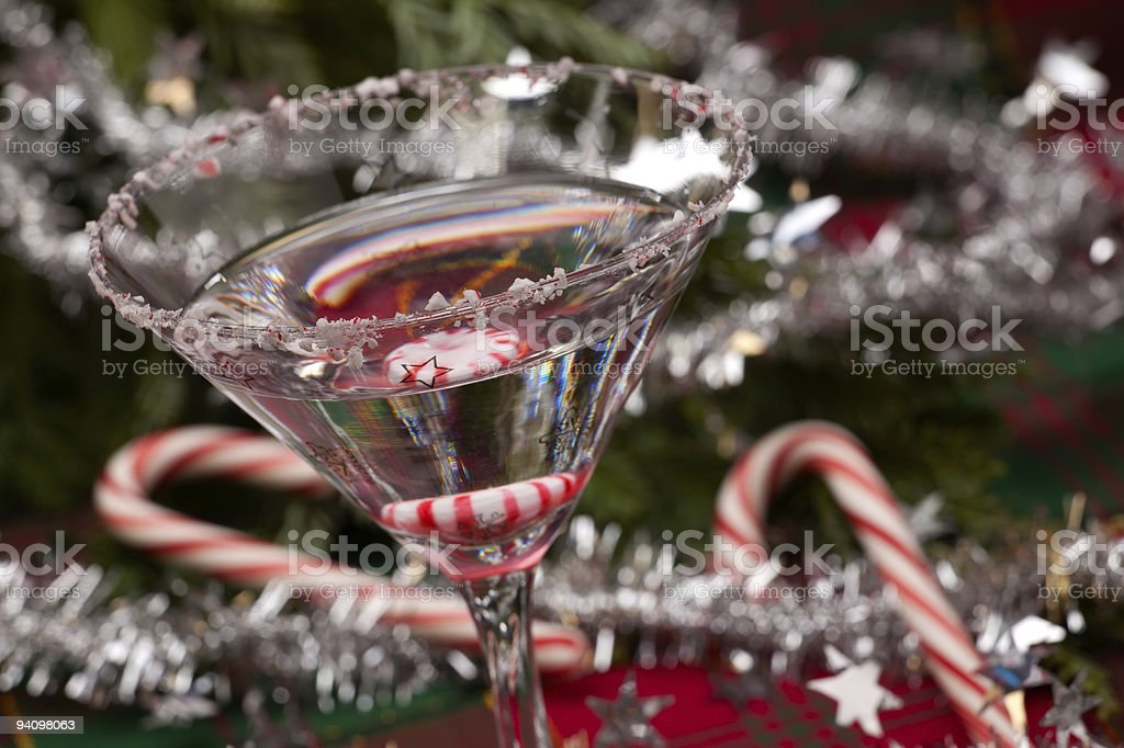 Candy canes and martini, in Christmas interior stock photo