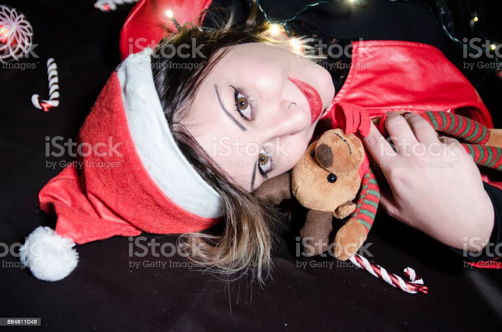 Candy canes and peluches for christmas stock photo