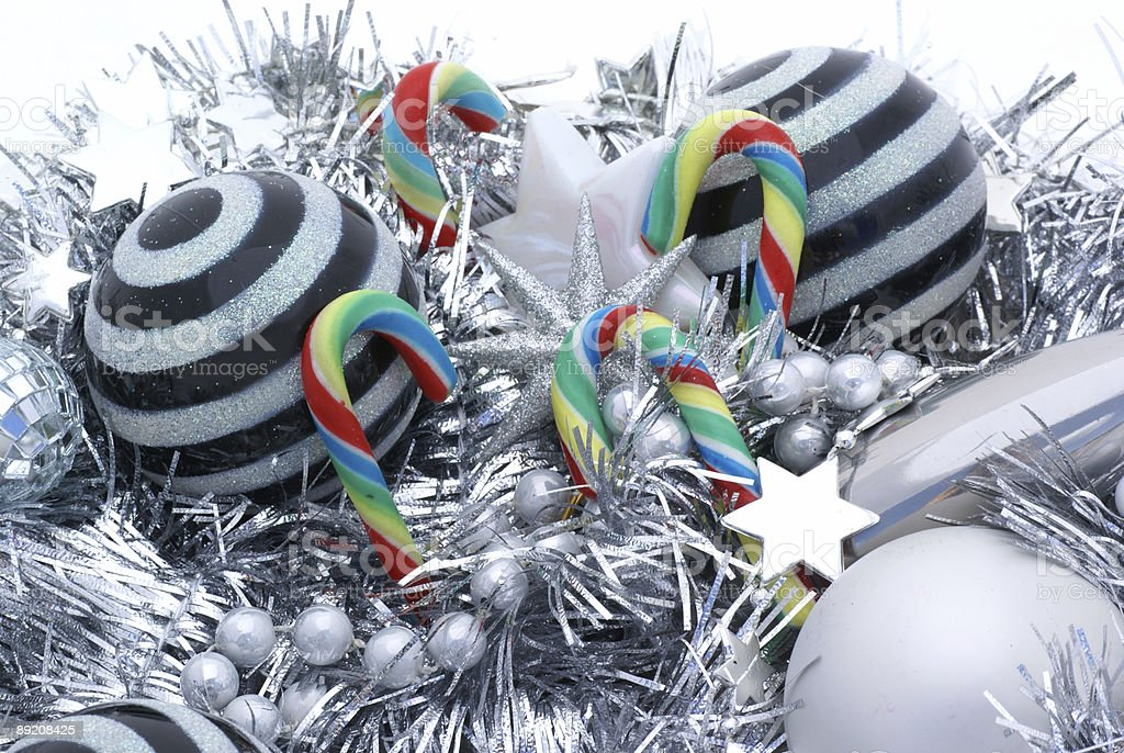 Candy canes and striped balls. royalty-free stock photo