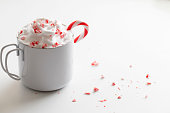 Candy canes in white mug