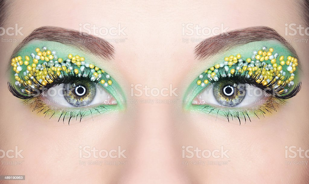 candy eyes makeup stock photo
