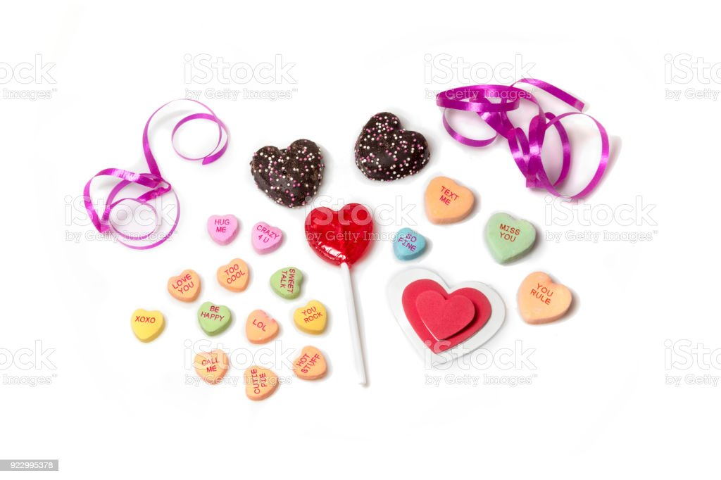 Candy hearts on white background stock photo