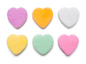 Valentines Candy Hearts Isolated on White Background.