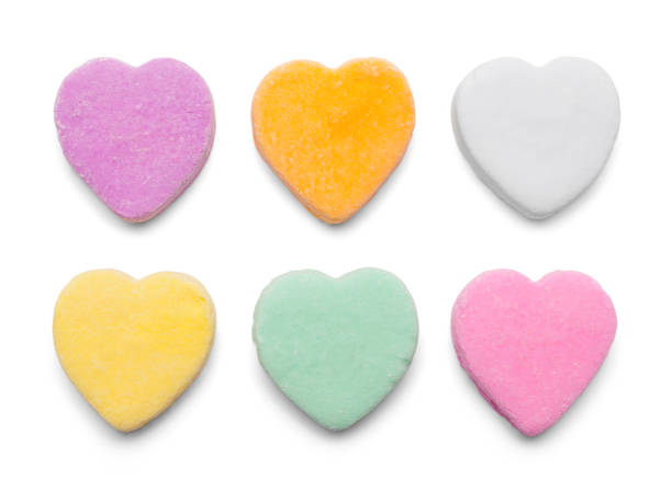 Candy Hearts Valentines Candy Hearts Isolated on White Background. candy stock pictures, royalty-free photos & images
