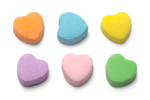 Candy Hearts Blank Candy Valentiens Hearts Isolated on White Background. candy stock pictures, royalty-free photos & images