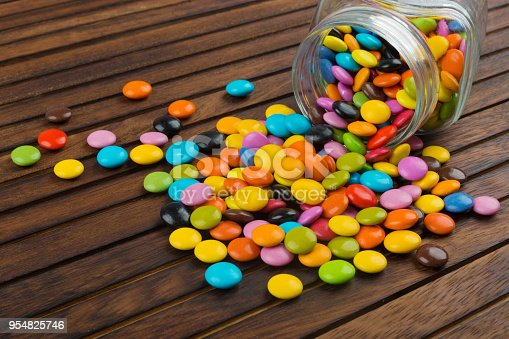 Candy in a glass jar on table