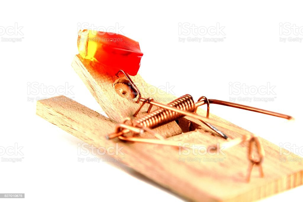Candy in a mousetrap stock photo