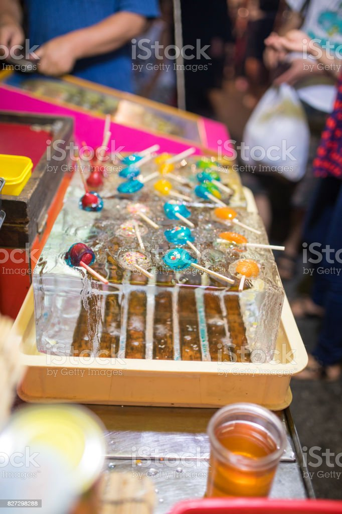 Candy in market stall at fireworks show stock photo
