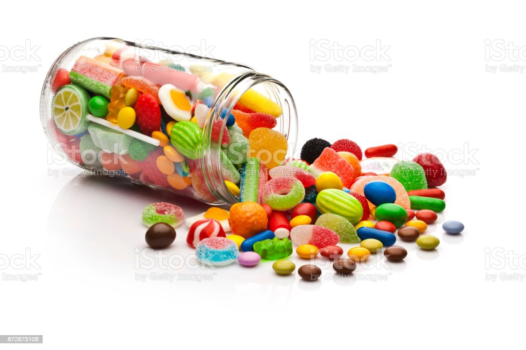 Candy jar on white background stock photo