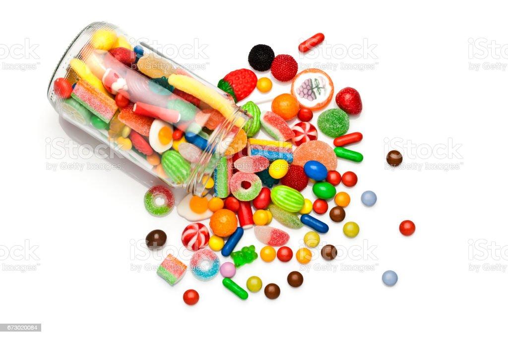 白色背景上的糖果罐 - 免版稅不健康飲食圖庫照片