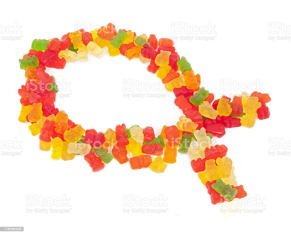 Candy Jesus Fish, Ichthys stock photo