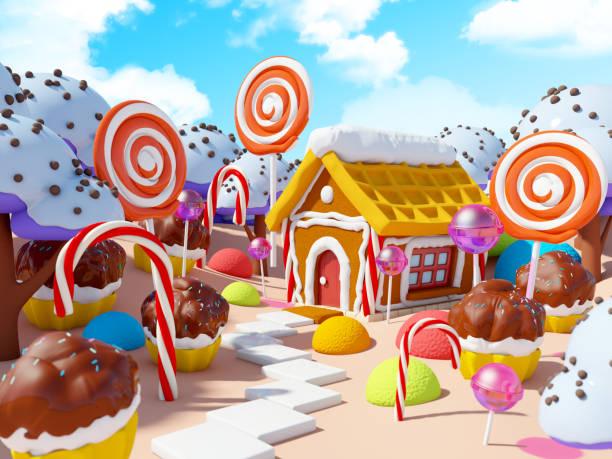 糖果土地景觀 - 卡通 個照片及圖片檔