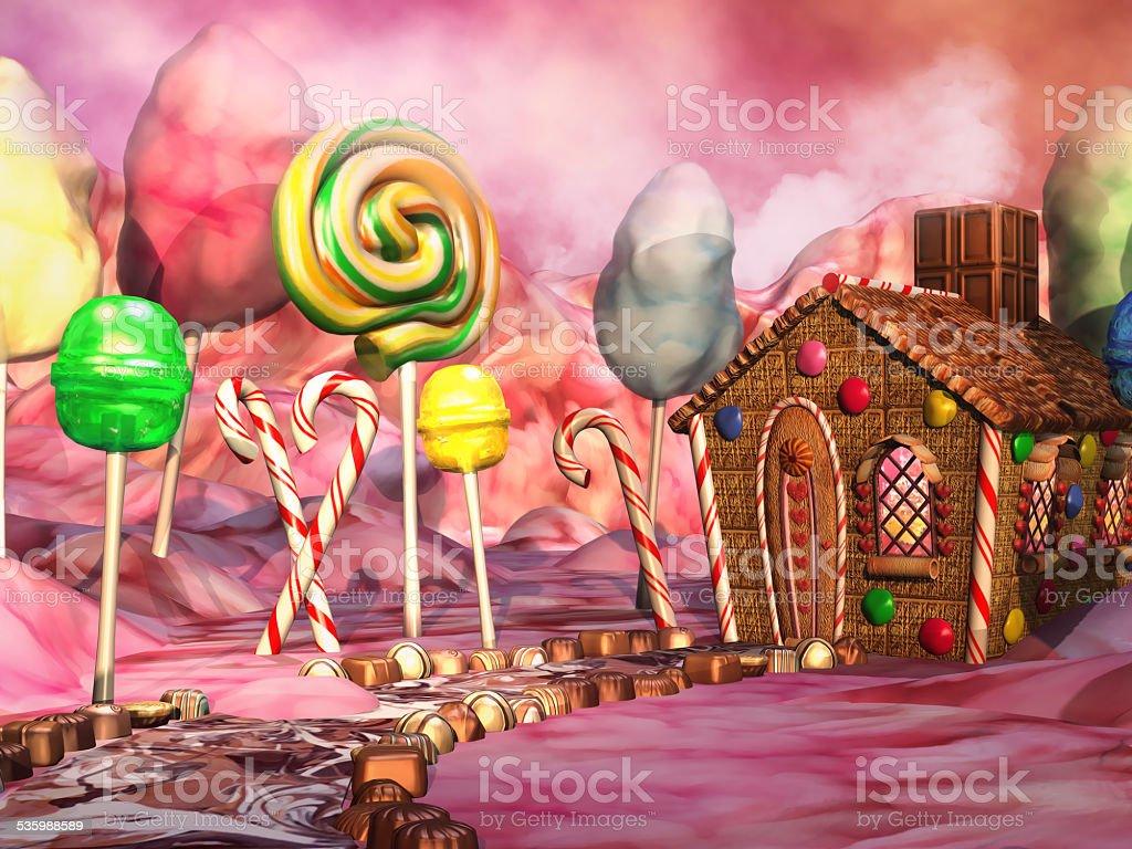 Candy landscape stock photo