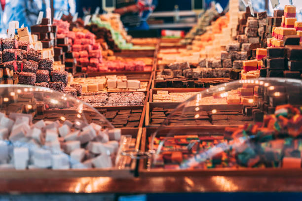 Candy market in midsummer. Various sweets for self-service stock photo