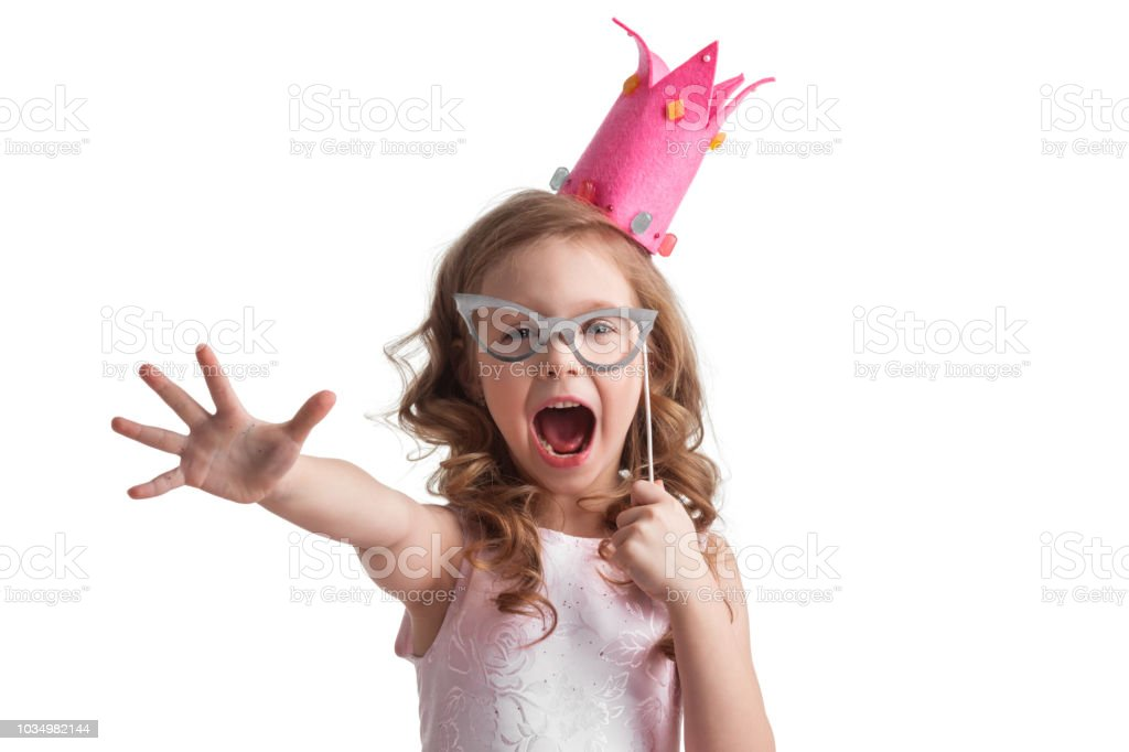 Candy princess girl with party glasses stock photo