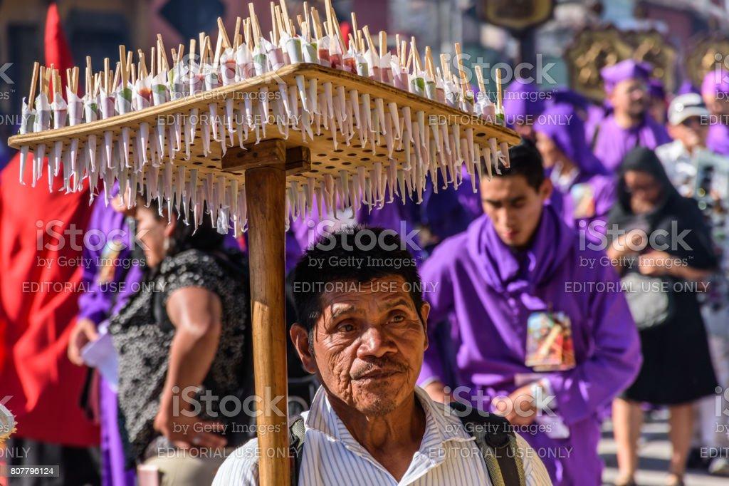 Candy seller, Antigua, Guatemala stock photo