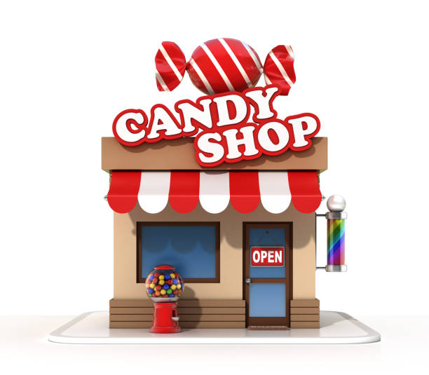 Candy shop on a white background 3d rendering stock photo