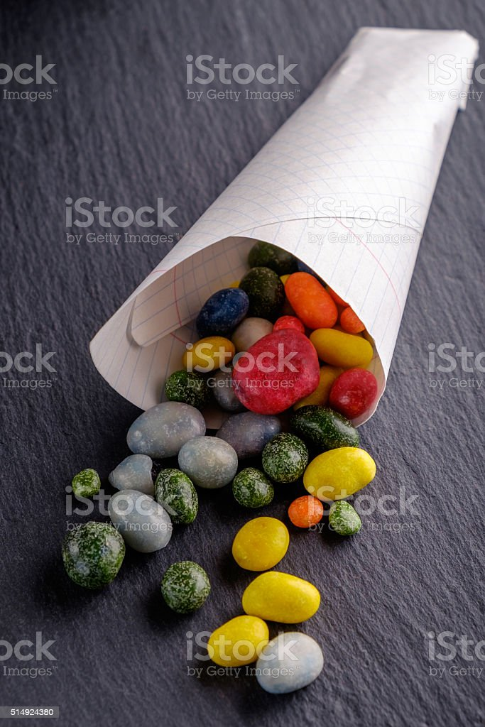 candy slanet in bags stock photo