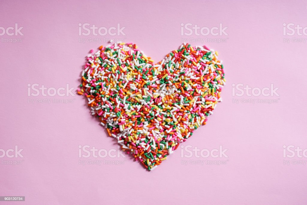 candy sprinkles in form of heart stock photo