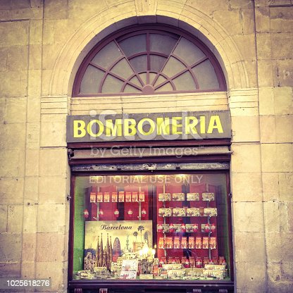 Barcelona, Spain - June 7, 2014: Store window showing lots of chocolates in traditional store. There are lots of excellent quality sweets selling stores all across the country