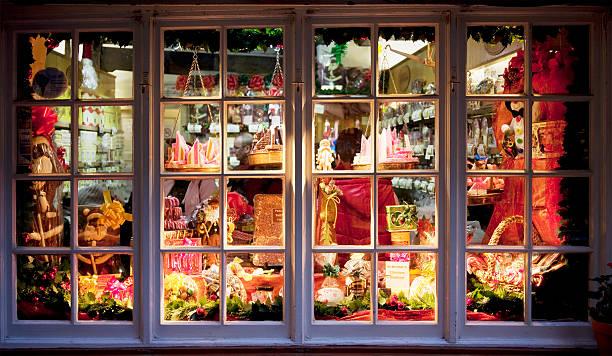 Candy store window stock photo