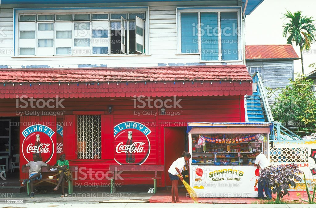 Candy store with Coka-Cola sign Georgetown, Guyana stock photo