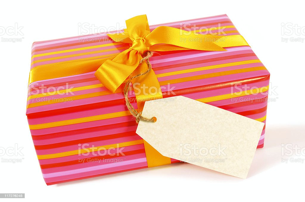 Candy stripe gift with label royalty-free stock photo