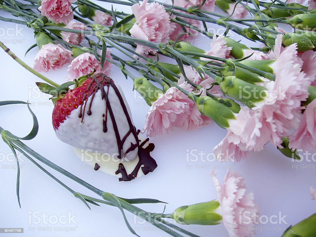 Candy - White Chocolate Covered Strawberry & Flowers royalty-free stock photo